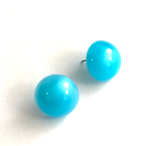 Aqua Blue Aura Glow Retro Button Studs