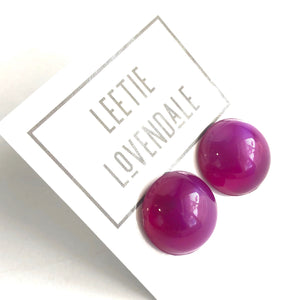 Violet Aura Glow Retro Button Studs