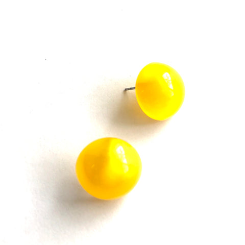 Yellow Aura Glow Retro Button Studs