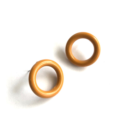 Camel Beige Donut Stud Earrings