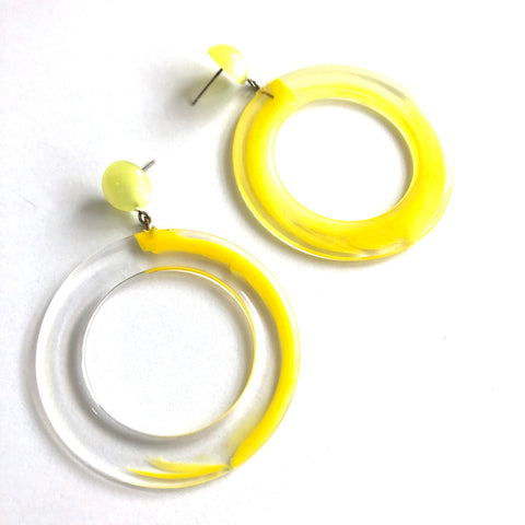 Yellow 80's Bubble Gum Donut Drop Earrings
