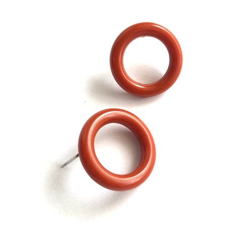 Rusty Terra Cotta Donut Stud Earrings