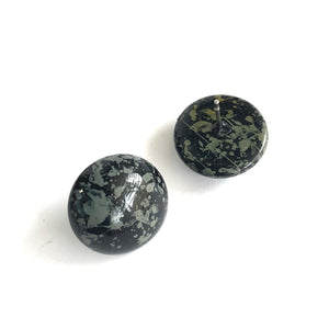Black & Grey Paint Spattered Retro Button Stud Earrings