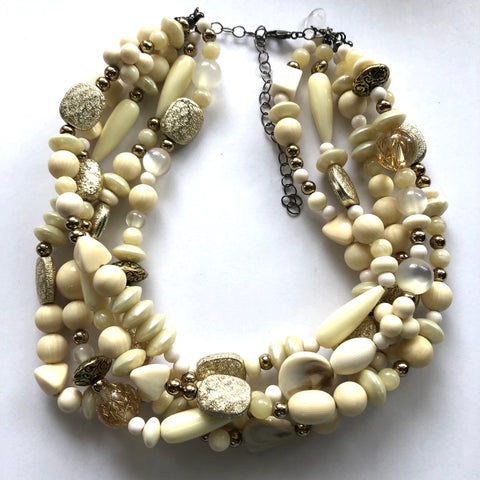 Ivory & Antique Golds Lucite Sylvie Necklace