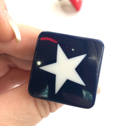 Navy Blue & White Star Lucite Silver Cocktail Ring