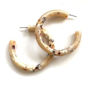 Beige Granite Large Jelly Tube Hoop Earrings 2 inch
