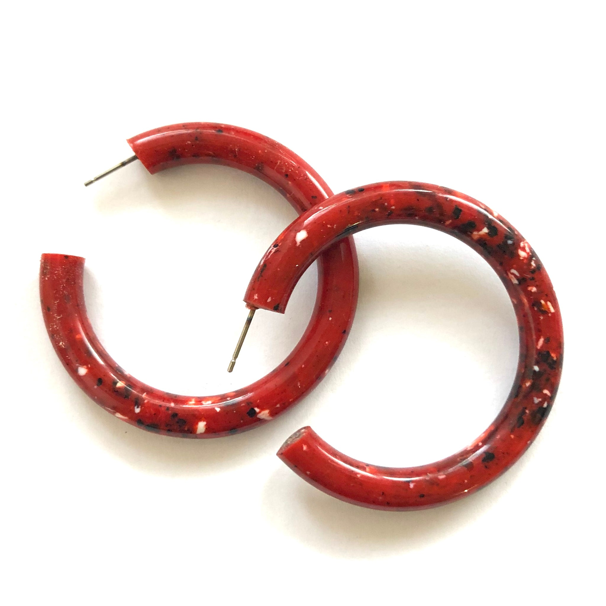 Brick Red Granite Large Jelly Tube Hoop Earrings 2 inch