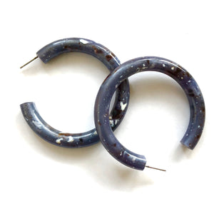 Midnight Granite Large Jelly Tube Hoop Earrings 2 inch
