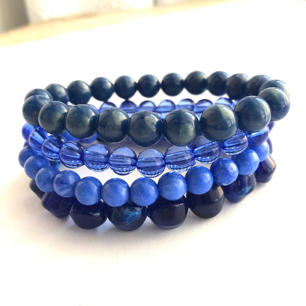 Denim Blues Stack and Stretch Bracelet Set