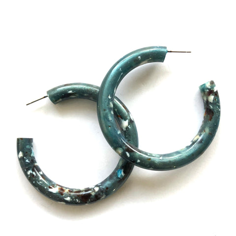 Slate Granite Large Jelly Tube Hoop Earrings 2 inch