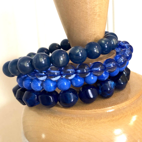 peacock blue stack bracelets