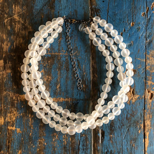 frosted clear morgan necklace