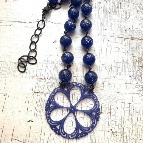 Denim Blue Sparkle & Lace Beaded Aleta Necklace
