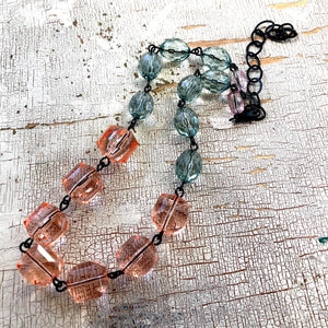 Coral & Seafoam Green Faceted Beaded Aleta Necklace