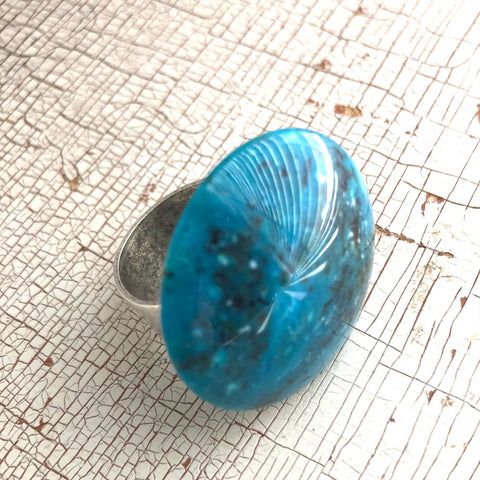 Capri Blue Speckled Granite Lucite Silver Cocktail Ring