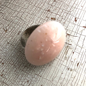 Light Pink Speckled Granite Lucite Silver Cocktail Ring