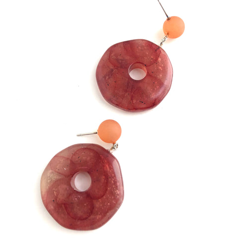 Cranberry & Rust Donut Drop Earrings