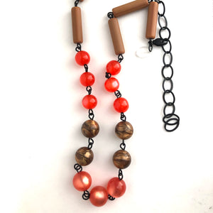 Ruby Pink & Copper Moonglow Beaded Aleta Necklace