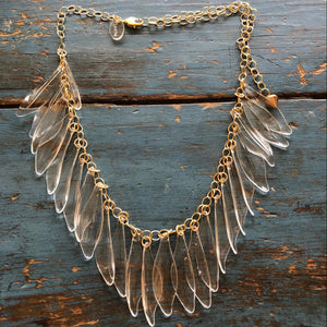clear leaves necklace