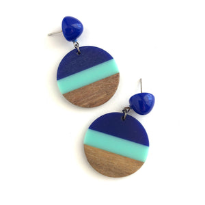 Blue & Turquoise Striped Resin and Wood Drop Earrings