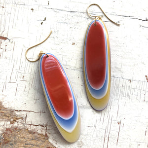 Burnt Orange & Gold Vintage Agate Resin Drop Earrings