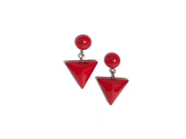 cherry red triangle earrings