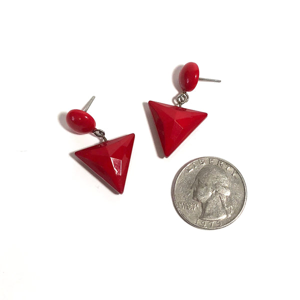red pyramid earrings