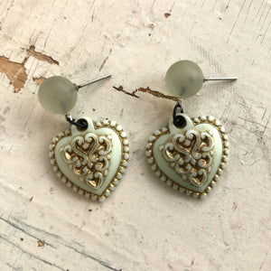 Mint Green & Gold Nouveau Heart Drop Earrings
