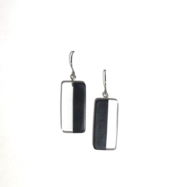 Black and Clear Geometric Rectangle Drop Earrings