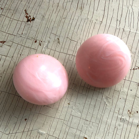 Pink Marbled Retro Saucer Button Stud Earrings