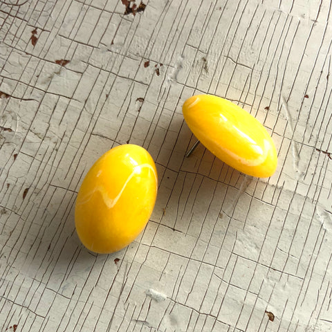 Sunshine Yellow Marbled Oval Button Stud Earrings