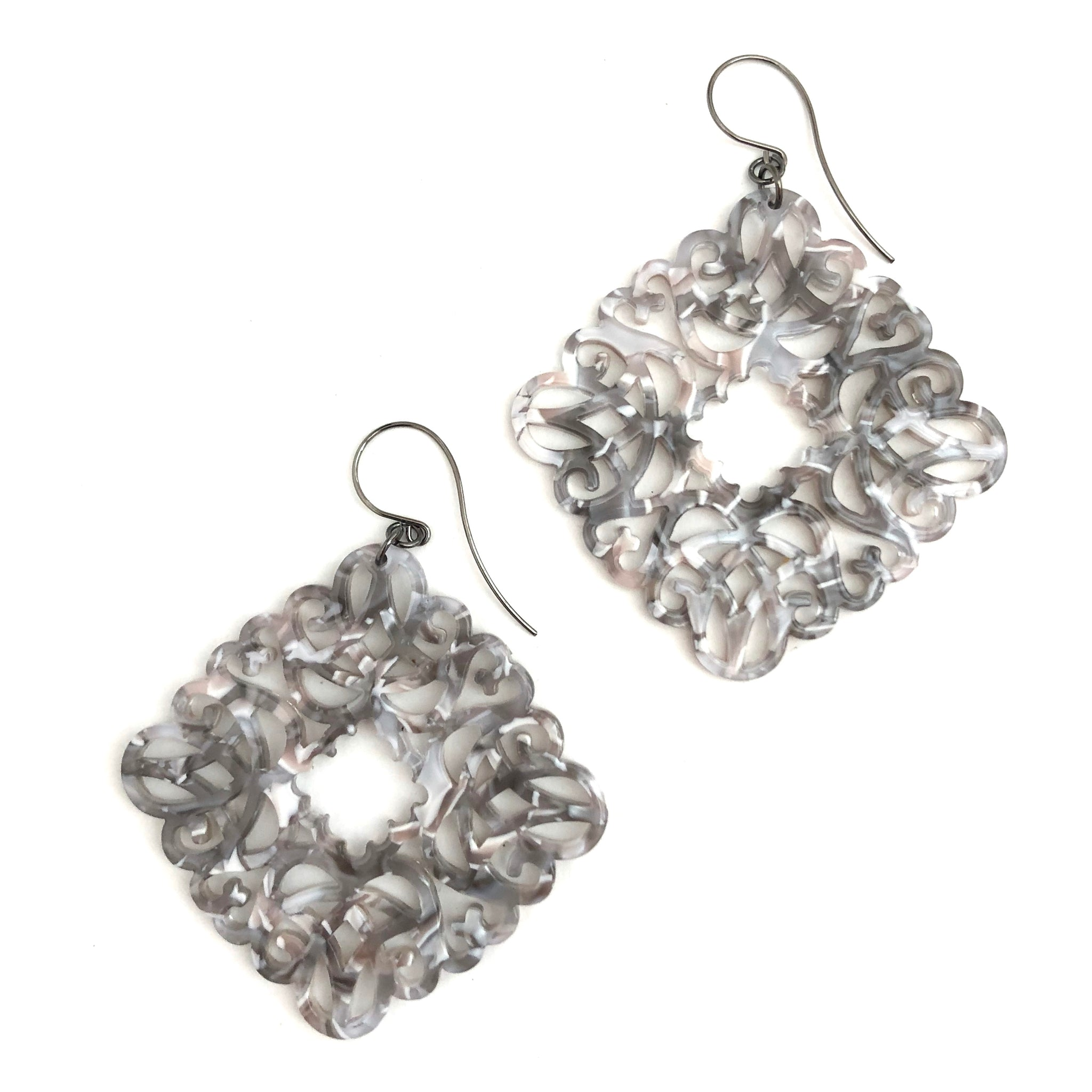 Grey & White Knotted Lace Drop Earrings