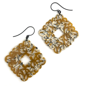 Gold & Beige Knotted Lace Drop Earrings