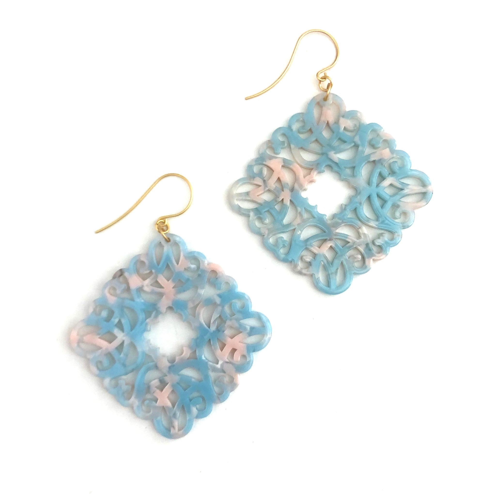 Pink & Ice Knotted Lace Drop Earrings