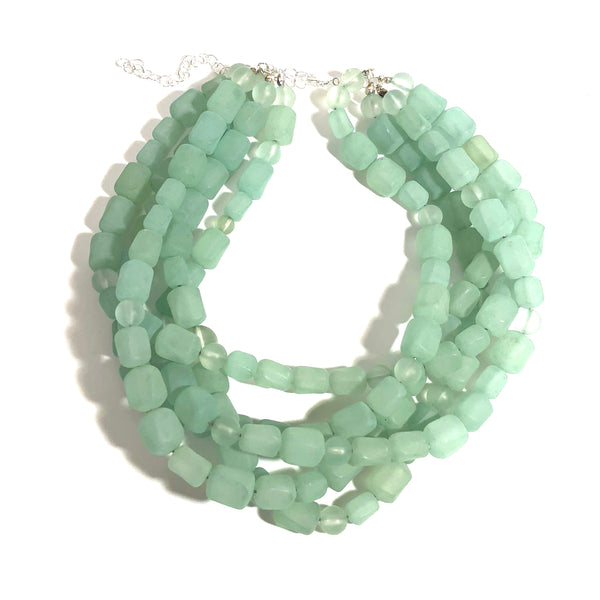 frosted green bib necklace