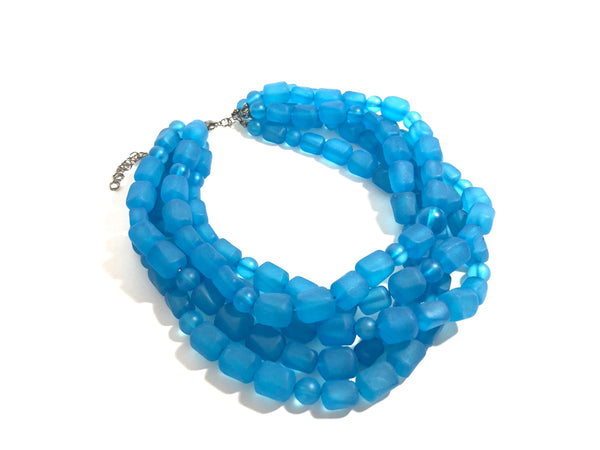 capri blue bib necklace