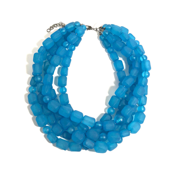 aqua frosted necklace