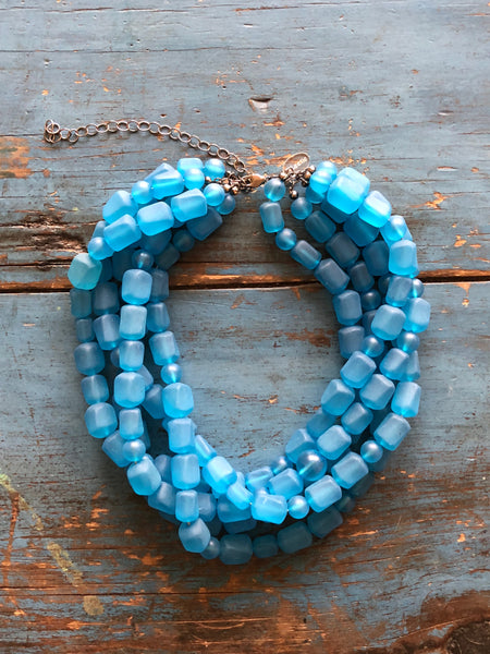 frosted capri blue necklace
