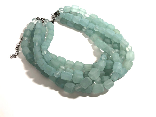 frosted teal statement necklace