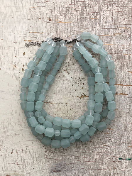 vintage lucite teal necklace