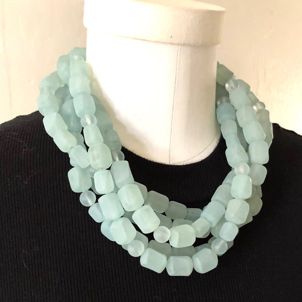 teal bib necklace