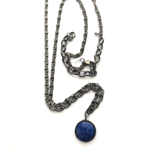 Deep Blue Mosaic & Gun Metal Layering Necklace - Long