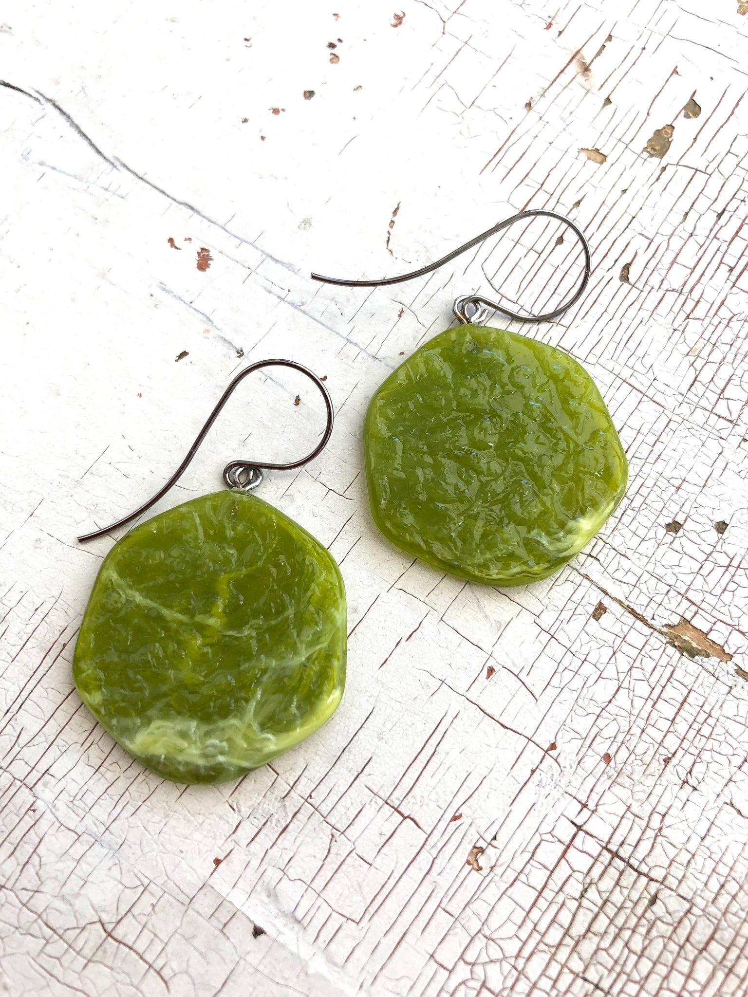 Chartreuse Green 'Stained Glass' Drop Earrings