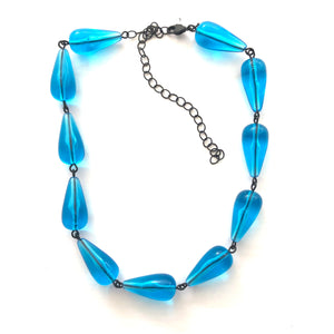 Aqua Blue Teardrop Beaded Amelia Necklace
