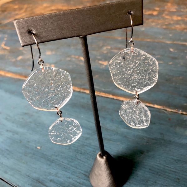 clear textured earrings
