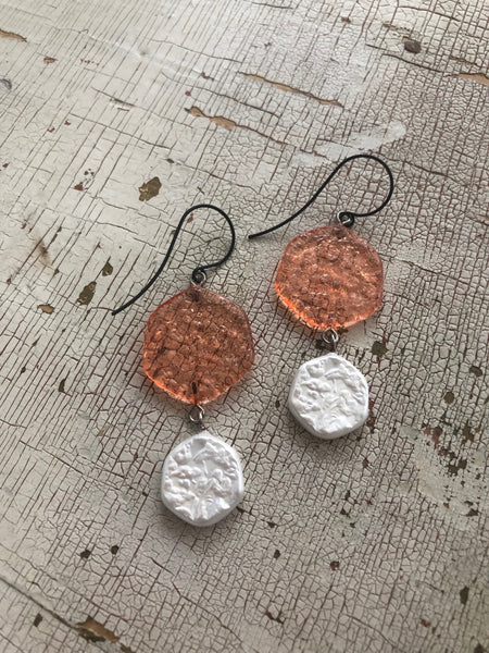 coral pearl earrings