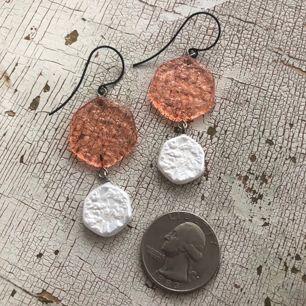 coral textured earrings