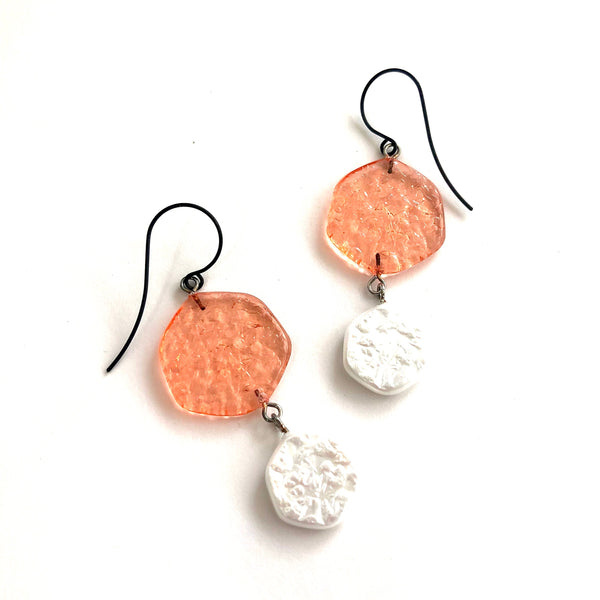 peach white earrings
