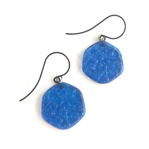aqua blue statement earrings