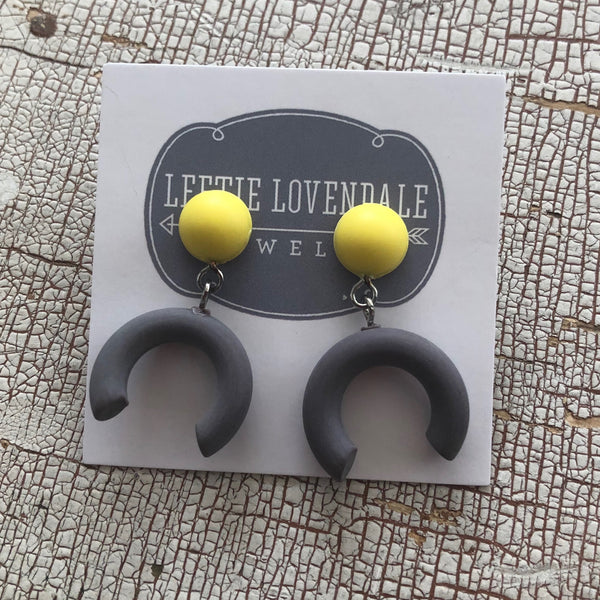 crescent earrings grey